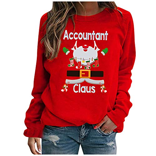 MeikoHome Christmas Blouse Womens Long Sleeves Tunic Tops 2020 New Pullover Casual Crewneck Sweatshirts Red