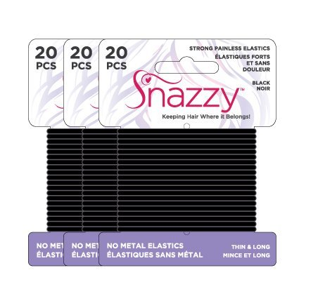 Snazzy Hair Elastics Thin & Long Painless Pony Tail Holders - Yoga Twist - Black - Saver Pack 60 Count (3 Pack, 20 Ties Per Card)