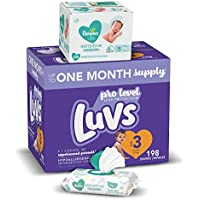 198-Count Luvs Ultra Leakguards Disposable Baby Diapers (Size 3) with Pampers Sensitive Water Based Baby Diaper Wipes (6X Pop-Top Pack, 336 Total Wipes)
