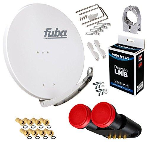 FUBA 4 Teilnehmer 2 SAT Digital SAT Anlage DAA850G + Megasat Diavolo Monoblock Quad LNB Astra Hotbird 0,1dB Full HDTV 4K + 8 Vergoldete F-Stecker Gratis dazu