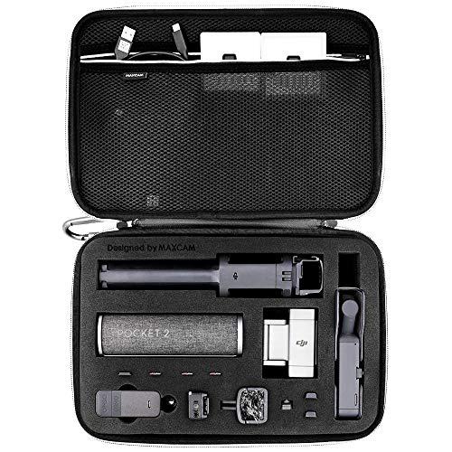 Estojo grande para transporte MAXCAM compatível com DJI Pocket 2 Creator Combo + Capa de carregamento + Haste de extensão + Clipe de telefone (Bolso 2 e acessórios não estão incluídos)