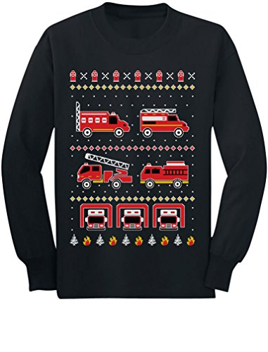 Firetrucks Firemen Ugly Christmas Sweater Toddler/Kids Long Sleeve T-Shirt 5T Black