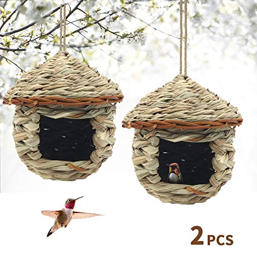 Gute Hummingbird House, Grass Hand Woven Birdhouses for Outdoors Hanging, Natural Bird Hut for Outside, Bird Houses for Audubon Finch Canary Chickadee - Set of 2 (Small)