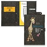 kwmobile Hülle für das deutsche Untersuchungsheft aus Filz - U-Heft Hülle und Impfpass Hülle mit extra Fächern - Cover U-Heft Giraffe