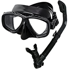 Package includes Promate Sea Slender Mask (MK275) and Cobra Dry Snorkel (SK680) Two windows snorkel mask with temper glass and high quality silicone for safe and confort Mask skirt design to offer effortless equalization and comfortable fit 100% subm...