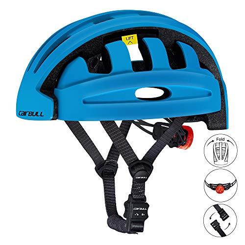 HANFEI Klappbarer Fahrradhelm, Radsporthelm Für Erwachsene, Magnetische Helmschnalle, Wasserdichtes Rücklicht, Unisex, Fahrradausrüstung, M (55-59 cm),Weiß Gelb Lila Schwarz Orange (Blau)