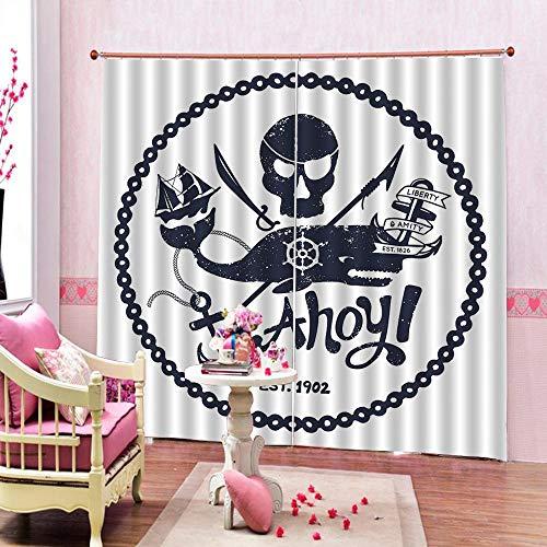 3D Isolierung Schattierung Vorhänge Piratenschädel 2 Panel fit Kinder Vorhänge Für Wohnzimmer Schlafzimmer Blackout Kinderzimmer Vorhänge 150x166cm