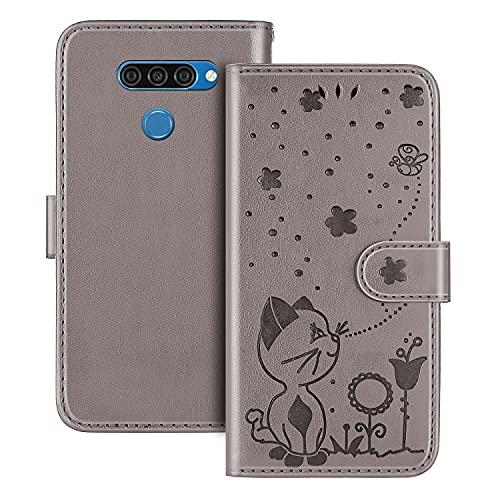 The Grafu Hülle für LG K50 / LG Q60, PU Leder Stoßfest Klapphülle Handyhülle für LG K50 / LG Q60, Brieftasche Schutzhülle mit Kartenfach, Grau