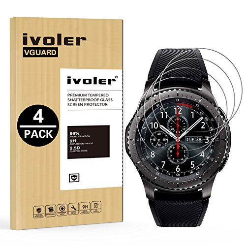 ivoler [4 Stücke] Panzerglas Schutzfolie für Samsung Galaxy Watch 46mm / Samsung Gear S3 Frontier / S3 Classic, 9H Festigkeit, Anti- Kratzer, Bläschenfrei, [2.5D R&e Kante]