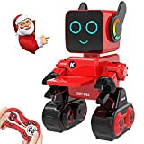 Aukfa Robot Toy for Kids,Programmable Dancing Singing Built-in Piggy Bank,Recording,Rechargeable and LED Eyes Intelligent Interactive Smart Toy RC Control Robot for Kids Birthday Gift Present(Red)
