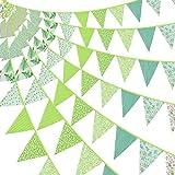 Tatuo 39,4 Füße Stoff Ammer Banner Grüne Stoff Flagge Banner Blumen Dreieck Flaggen Wimpel Ammer Girlanden für Hochzeit Geburtstag Party Garten Dekoration Klassenzimmer Party Zubehör
