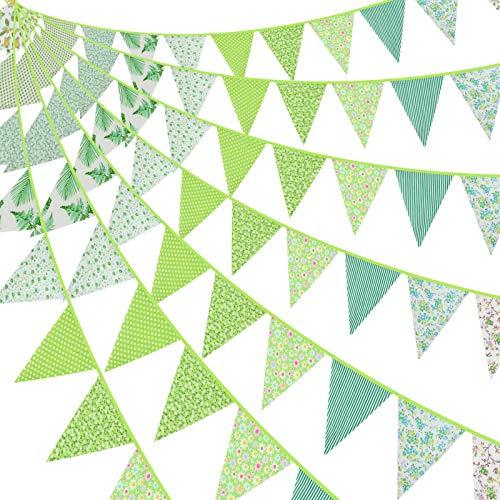 Bandera de Empavesado de Tela de 39,4 Pies Bandera de Tela Verde Guirnaldas Banderines Florales Triangulares para Decoración Jardín Fiesta Cumpleaños Boda Aula