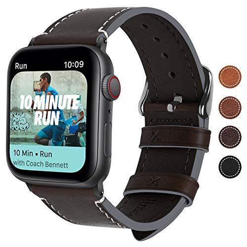 Fullmosa Kompatibel Apple Watch Armbandin 4 Farben, Vintage Leder Band für Apple Watch Series 4 44mm, Apple Watch Nike+ Series 4, iWatch Ersatzband,Kaffeebraun + Dunkelgrau Schnlle 44mm