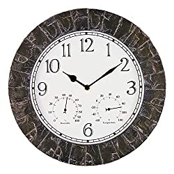 Bestime 14inch Faux-Stone Finish Outdoor Clock with Thermometer and Hygrometer.