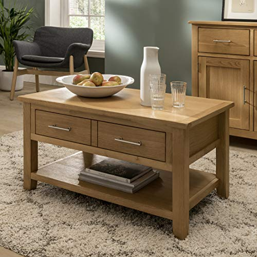 Nebraska Modern Oak 1 Drawer Coffee Table/Storage with Shelf/Living Room Furniture