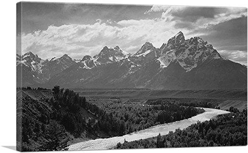 ARTCANVAS Grand Teton - National Park - Wyoming Canvas Art Print by Ansel Adams - 18  x 12  (0.75  Deep)