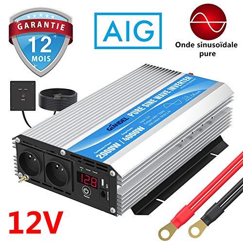 Convertisseur 12V 220V 230V Pur Sinus 2000W Onduleur avec télécommande & Dual AC Prises de Courant...