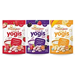 SWEET YOGI: Little drops of goodness. Made with wholesome yogurt and organic fruit, Happy Baby Yogis are melt-in-your-mouth, freeze-dried yogurt drops that provide babies and toddlers with a delicious baby or toddler snack that you can feel good abou...