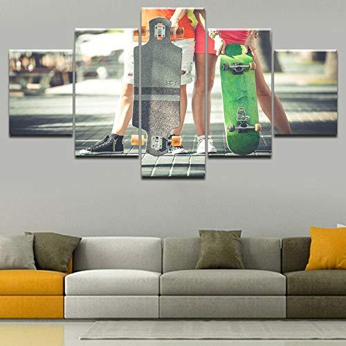 LAKHAFZY 5 Leinwandbilder Rahmen Leinwand Home Dekorative Wandkunst Bilder Skate Poster Skateboard Sport Malerei Hd Gedruckt Typ Poster