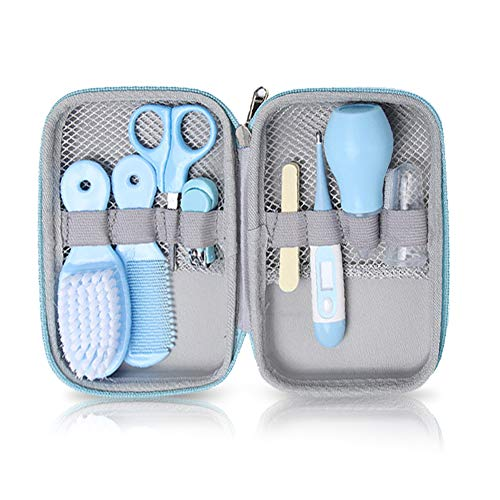 Baby Grooming Kit, 8 in 1 Baby Hair Brush/Nail Clipper/Nose Cleaner/Finger Toothbrush/Nail Scissors/Manicure Kit for Baby Care Keep Healthy and Clean(Blue)