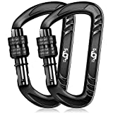 RHINO Produxs 2PCS of 12kN Heavy Duty Lightweight Locking Carabiner Clips; Excellent For Securing Pets, Outdoor, Camping, Hiking, Hammock, Dog Leash Harness, Keychains, Water Bottle, Boxing bag