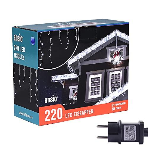 ANSIO® Luci Natale Esterno Cascata 7.5m 220 LED Luci di Natale Luminose Bianco Fredda Luci Natalizie da Esterno/Interno Ideale per Mantello, Balcone Lucine Luminoso | Cavo Bianco