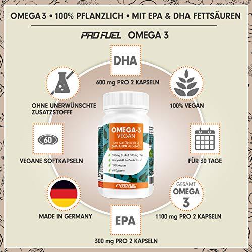 PROFUEL® V-OMEGA (Motoroel) │Vegane OMEGA 3 Fettsäuren │Microalgen EPA & DHA hochdosiert │Die optimale und pflanzliche Alternative zu Fischölkapseln │60 Soft Caps - 2