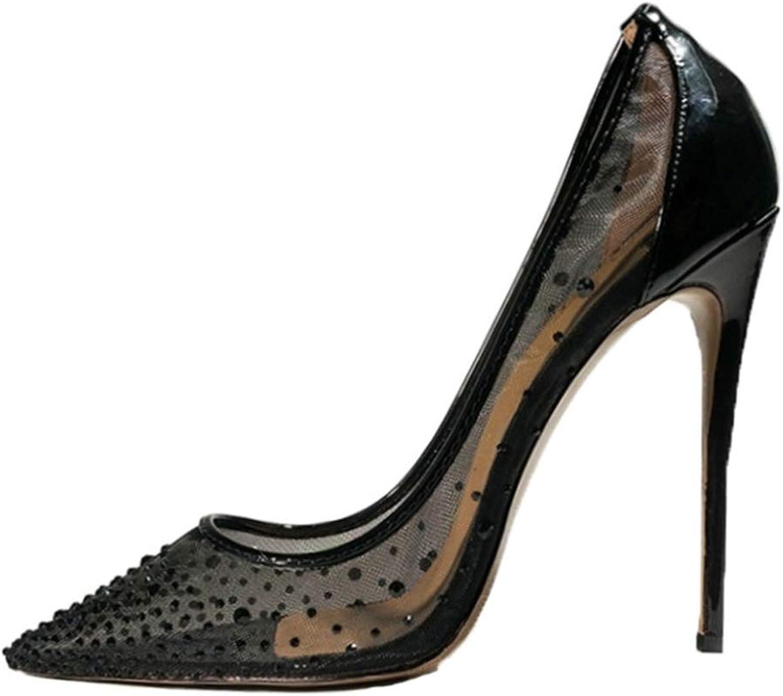 Frauen High Heels Pumps Pumps Schwarz Pumps Mesh Spitz Stilettos Party Karriere Büro Schuhe für Damen  80% Rabatt