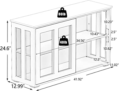 Kitchen Storage Cabinet RASOO Antique Stackable Black Buffet Storage Sideboard Adjustable Shelf Inside Credenza Cupboard with