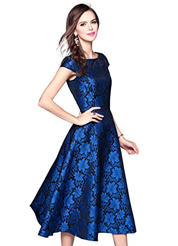 Women's Vintage Scoop Neck Jacquard Cap Sleeve Party Cocktail Swing Dress