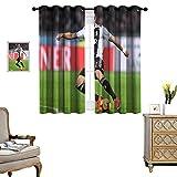 DRAGON VINES Living Room Grommet Insulation Curtain Football World Cup No. 7 Cristiano Ronaldo_WPS Bedroom Living Room Decoration Set of 2 Panels DKCL_K140xG115