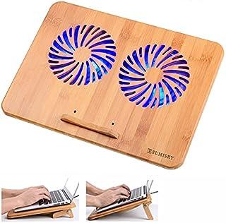 SUMISKY ノートパソコン冷却パッド 2つ大冷却ファン ブルーライト 風力調節可 USBケーブル付き 2ポート 高さ調整 天然竹製 タブレット冷却台(38x28cm)