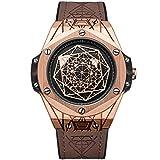 Ruimas - Reloj de pulsera para hombre de cuarzo, militar, resistente al agua, esfera redonda de color oro rosa, correa de piel marrón para hombres