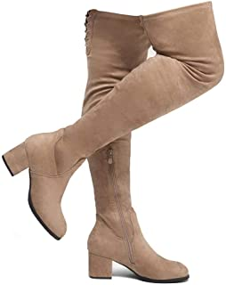 Shoe Land CARAA Women's Suede Thigh High Stretchy Boots- Block Heel Side Zipper Back Lace Over The Knee Casual Boots