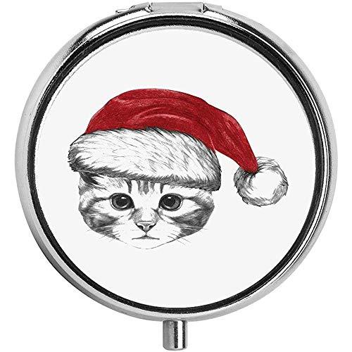 Portret van schattig kitten met kerstmuts kat liefhebber hand tekening pil case ronde 3 vak metalen draagbare pil container