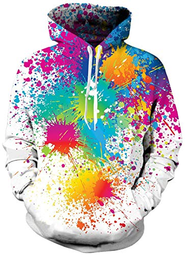 Bro Hoody Sweater Shirt 3D Realistic Printed Watercolor Paint Splatter Designer Graffiti Warm Fleece Rave Hoodie Sweatshirts with Drawstring for Womens Mens Crew Neck Jersey Clothes 80's Tracksuit S
