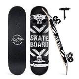 BELEEV Skateboard 31x8 Zoll Komplette Cruiser Skateboard für Kinder Jugendliche Erwachsene, 7-Lagiger Kanadischer Ahorn Double Kick Deck Concave mit All-in-One Skate T-Tool für Anfänger (Schwarz)
