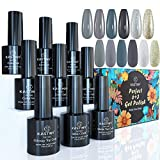 Smalto Semipermante, Kastiny 9 Pcs Argento Latte Grigio Dorato Verde Smalti Semipermanenti per Unghie, Soak Off Gel UV Nail Polish con Base e Top Coat, San Valentino