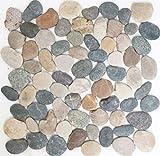 Piastrelle a mosaico, ghiaia in pietra, nero, ciottoli bombati, beige, grigio, nero, MOS30-1204