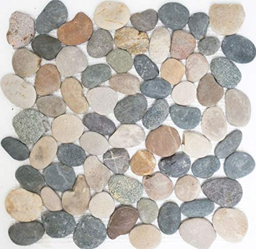 Mosaik Fliese Flußkiesel Steinkiesel schwarz Kiesel flach beige grau schwarz MOS30-1204