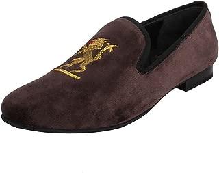 Bareskin Men Handmade Copper Brown Velvet Slip-on with Royal Design Embroidery