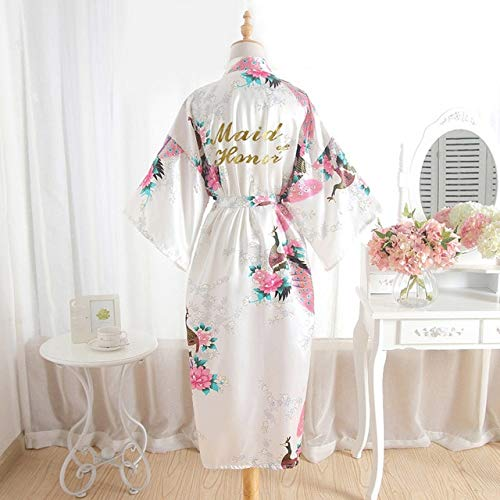 XFLOWR Lange Vrouwen Zijde Bronzen Pauw Sectie Maid Driekwart Mouw Satijnen Jurk Bruiloft Robe Kimono Bruidsgewaad Slaapkleding
