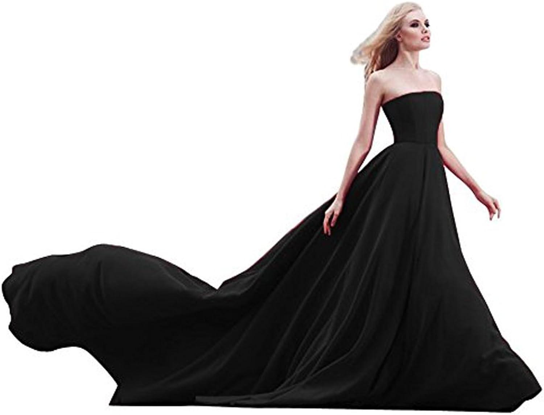Ellenhouse Women's Long Simple Strapless Chapel Train Satin Formal Prom Evening Dress
