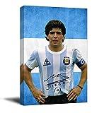 YITUOMO Diego Maradona Panel decorativo para pared de 30,48 x 45,72 cm, póster deportivo de fútbol argentino, lienzo para sala de estar, dormitorio, arte enmarcado
