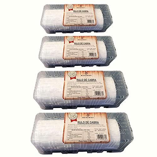 Queso Rulo de Cabra - Peso del Producto 1 Kilo por Unidad - Queso de Cabra Alto en Nutrientes - Producto con Bajo Contenido en Grasas - Ideal para Ensaladas (4 Rulos de Cabra)