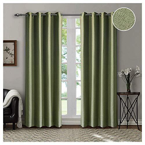 Singinglory Cortinas opacas verdes, pack de 2 unidades, 140 x 245 cm, con ojales, cortina opaca térmica para salón y habitación infantil (verde)