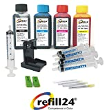 Kit de Recarga para Cartuchos de Tinta HP 300, 300 XL Negro y Color, Incluye Clip y Accesorios + 400 ML Tinta