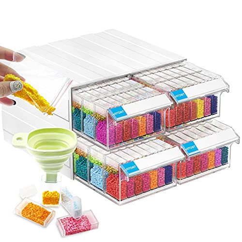 ARTDOT Storage Containers for Diamond Painting, 4 Pack Stackable Craft Storage Organizers 140 Slots Individual Containers for Diamond Art Beads Nail Pill Rhinestones Seed