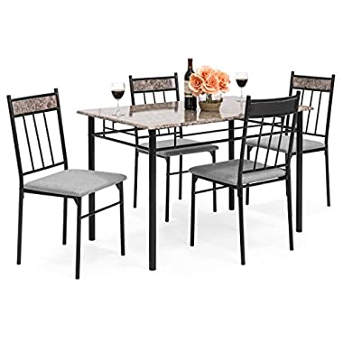 Best Choice Products 5-Piece Rectangle Faux Marble Dining Table Set w/Steel Frame and 4 Upholstered Chairs - Black/Gray
