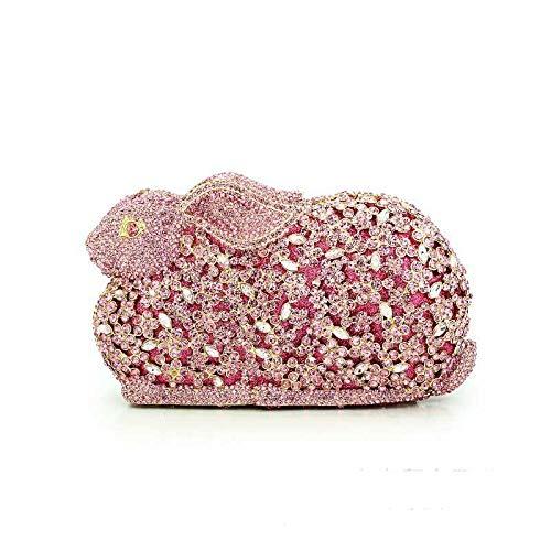 Goodvk La Tarde del Bolso de Embrague para la Mujer Conejo en Forma de Rhinestone Dinner Bag Crystal Handmade Cosmetic Bag